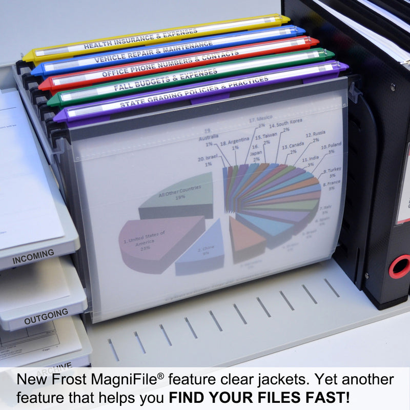 "Ultimate Office MagniFile® Hanging File Folders V-Base, Letter Size.  11"" Magnified Indexes DOUBLE THE SIZE of Your File Titles to FIND FILES FAST. Includes 25 Index Strips and UNCONDITIONAL LIFETIME GUARANTEE! (Set of 5, Frost with Assorted)"