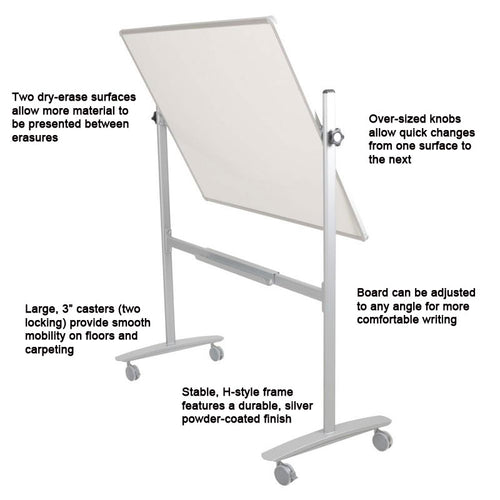"48""h x 60""w Mobile Dura-Rite (Non-Magnetic) Reversible Whiteboard, Silver"