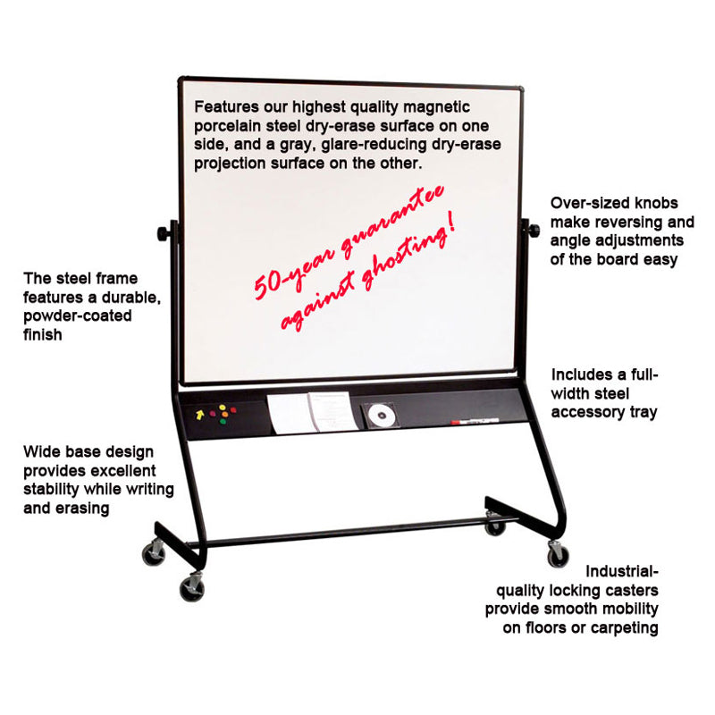 "48""h x 72""w Mobile Projection/Porcelain Steel Reversible Whiteboard"