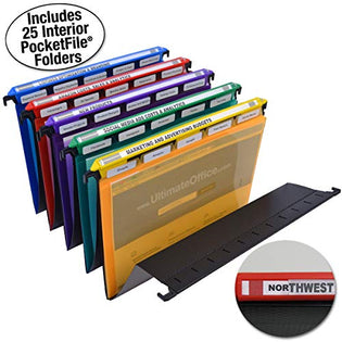 Ultimate Office MagniFile Hanging File Folders V-Bottom Letter Size, Set of 5 Assorted Color Magnified Indexes PLUS 25 Removable PocketFile Clear Poly Interior Document Folders with 5th Cut Tabs