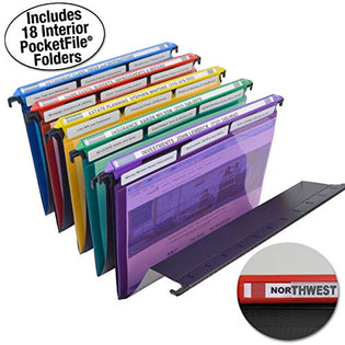 Ultimate Office MagniFile Hanging File Folders V-Bottom Letter Size, Set of 5 Assorted Color Magnified Indexes PLUS 18 Removable PocketFile Clear Poly Interior Document Folders with 3rd Cut Tabs