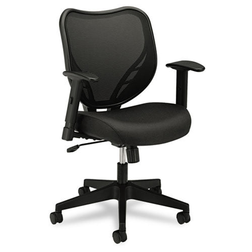 551 Mesh Mid-Back Work Chair with Fabric Seat, Black w/Black