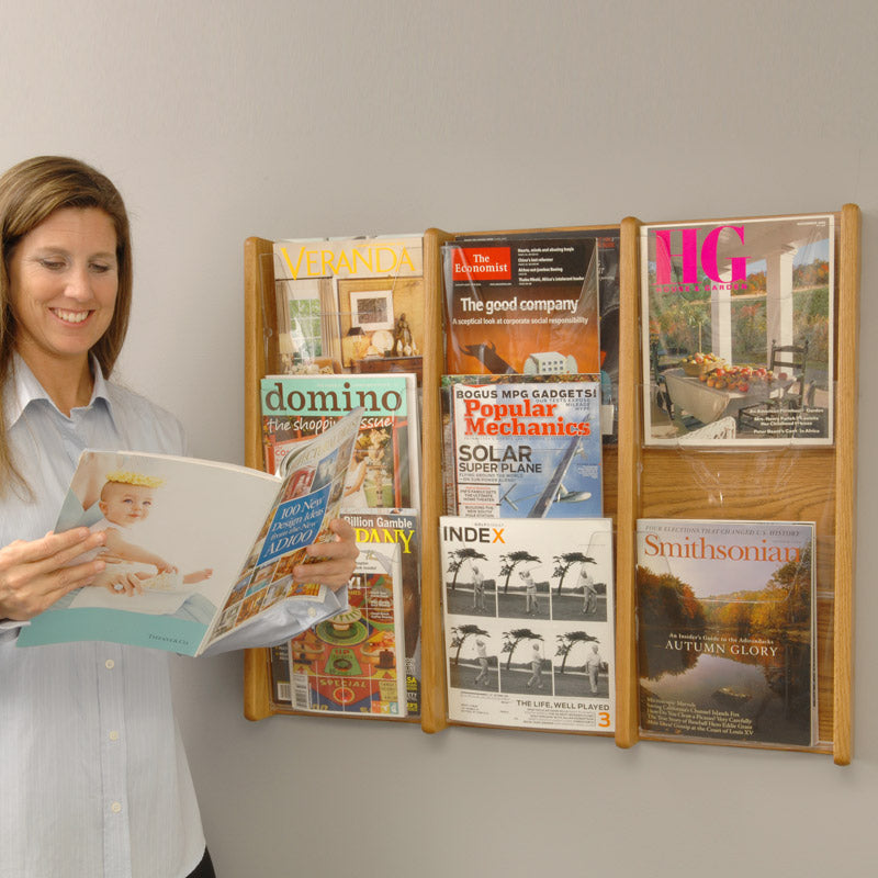 6 Magazine/12 Brochure Acrylic & Oak Wall Display