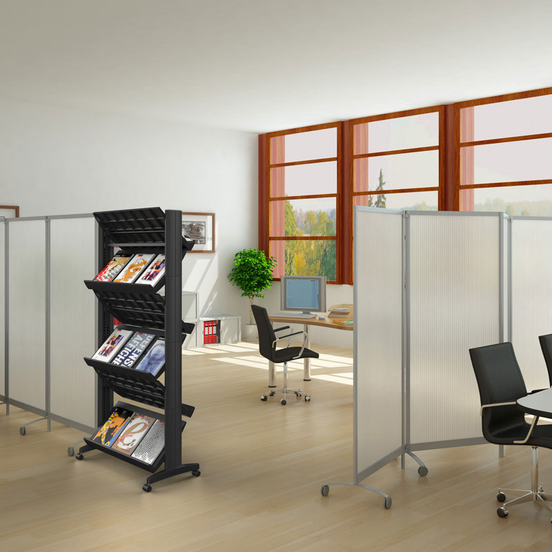 6-Shelf, 2-Sided Mobile Literature Display
