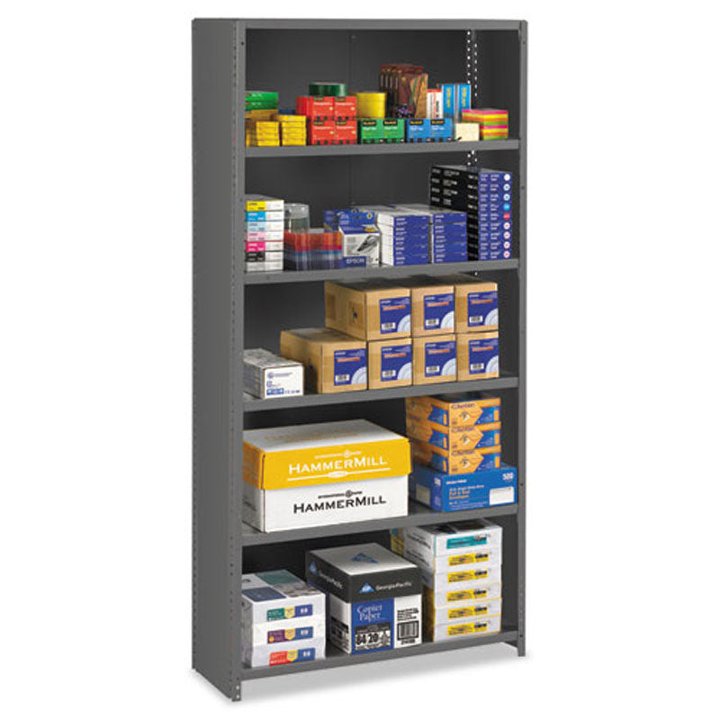 6-Shelf Commercial Steel Shelving, Medium Gray