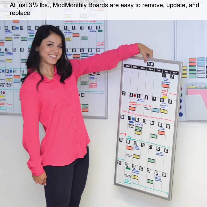 Ultimate Office Magnetic Dy-Erase Whiteboard Modular Monthly Planning Calendar (1 Each), with Optional Accessories Kit (Sold Separately)