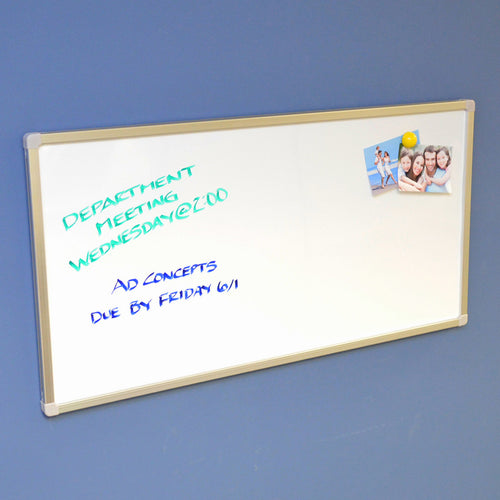 "Ultimate Office 34 ½"" x 17 ¾"" Ultra-Slim Workstation Magnetic Whiteboard can be Mounted Horizontally or Vertically.  Wall Rail Allows for Easy Mounting and Removal"