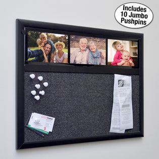 "Ultimate Office Fabric Bulletin Board 24""x 18"" Memo Board PLUS, 3 Photo Frames and Jumbo Pushpins. Organize and Display Photos, Notes and Reminders. Ideal for Home, Office, Cubicles or Classrooms"