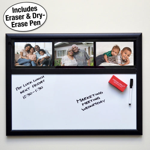 "Ultimate Office Magnetic Whiteboard 24""x 18"" Memo Board PLUS, 3 Photo Frames, Marker and Magnetic Eraser. Organize and Display Photos, Notes and Reminders. Ideal for Home, Office, Cubicles or Classrooms"