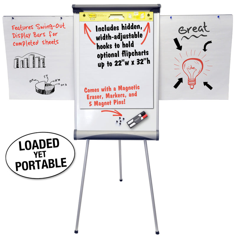 "Ultimate Office 24"" x 36"" Portable Magnetic Whiteboard / Flipchart Easel with Height Adjustable Tripod Stand. Great for Tabletop or Standing Presentations -  Includes Display Bars, Eraser and Markers"