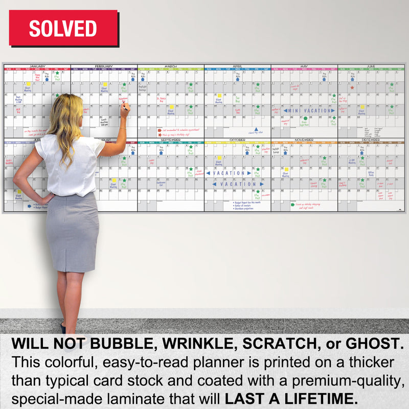 "Ultimate Office Extra Large Dry Erase 36"" x 96"" Full Year Monthly Planning Calendar.  Full Color, Premium Quality, Laminated Surface is Undated, Erasable and Perfect for Planning 2020, 2021 and Beyond, Includes Accessory Set"