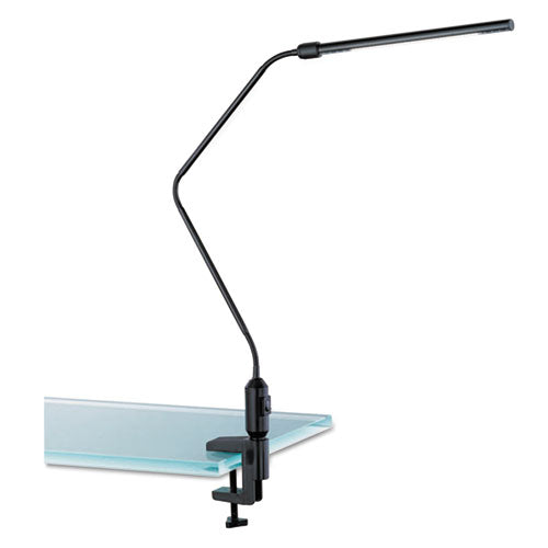 "LED Desk Lamp w/Interchangeable Base or Clamp, 5 1/8""w x 21 3/4""d x 21 3/4"", Black"