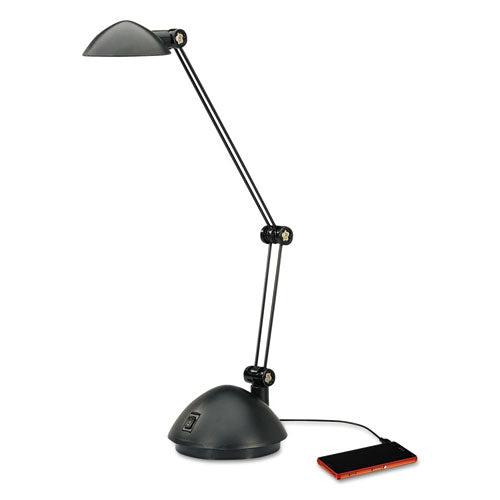 "Twin-Arm LED Task Lamp w/USB Port, 11 7/8""w x 5 1/8""d x 18 1/2""h, Black"
