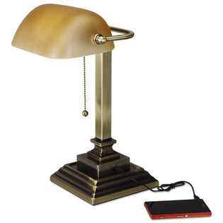 "Traditional Banker's Lamp w/USB, 10""w x 10""d x 15""h, Antique Brass"
