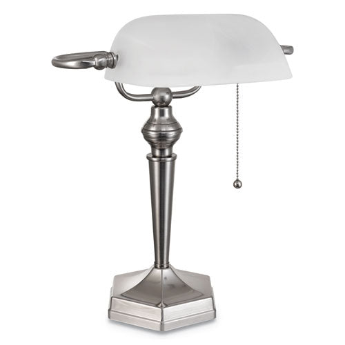 "Banker's Lamp w/Post Neck, 10""w x 13 3/8""d x 16""h, Brushed Nickel"