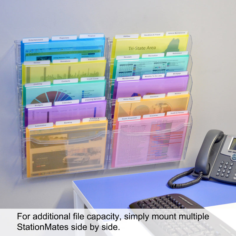 Ultimate Office StationMate® 5-Compartment Wall File Organizer, 5 Tier Vertical Mount Hanging File Sorter. Multi-Purpose Display Rack Includes Your Choice of 5th-Cut or 3rd-Cut PocketFile Project Files