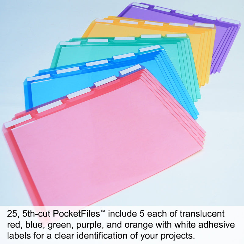 Ultimate Office PocketFile™ Clear Poly Document Folder Project Pockets, 5th-Cut, Letter Size, in 5 Assorted Colors, Set of 25