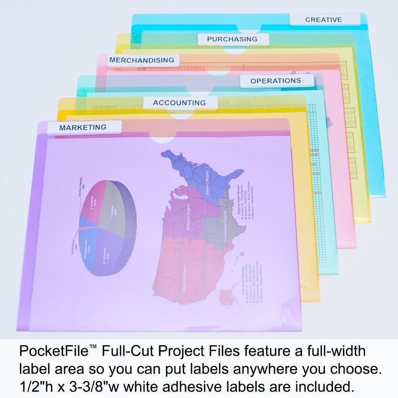 Ultimate Office PocketFile™  Clear Poly Document Folder Project Pockets, Full-Cut, Letter Size, in 6 Assorted Colors (Purple, Orange, Green, Red, Yellow, Blue), Set of 24
