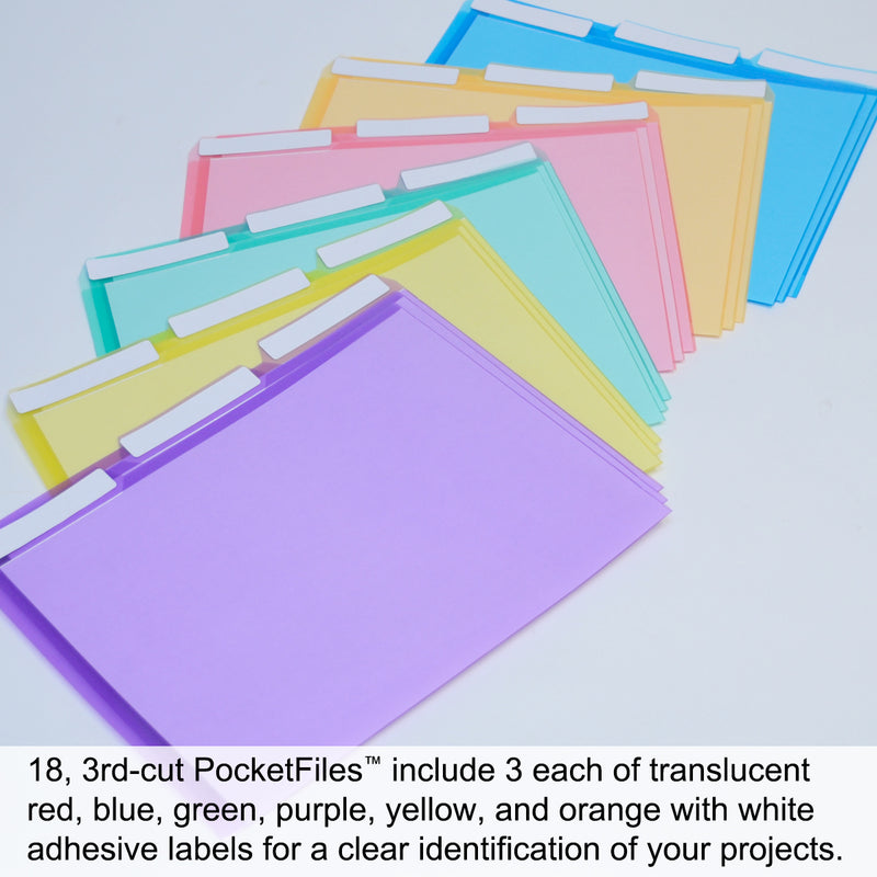 Ultimate Office PocketFile™ Clear Poly Document Folder Project Pockets, 3rd-Cut, Letter Size, in 6 Assorted Colors (Purple, Orange, Green, Red, Yellow, Blue), Set of 18