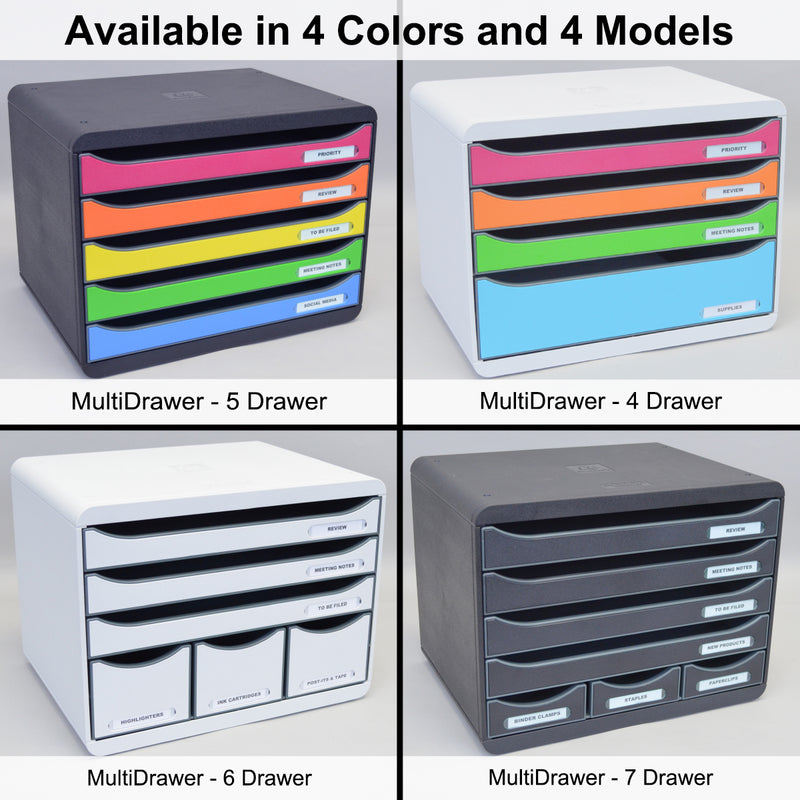 Ultimate Office MultiDrawer Desktop File Organizer Sorter Storage Box, 5 Drawer Black w/Assorted Color Fronts