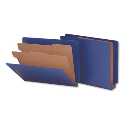 Six-Section Colored Pressboard End Tab Classification Folders, Letter (box of 10)