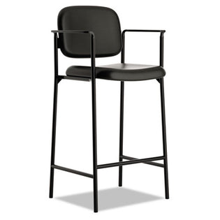 636 Café-Height Stool, Black w/Black Leather (set of 2 chairs)