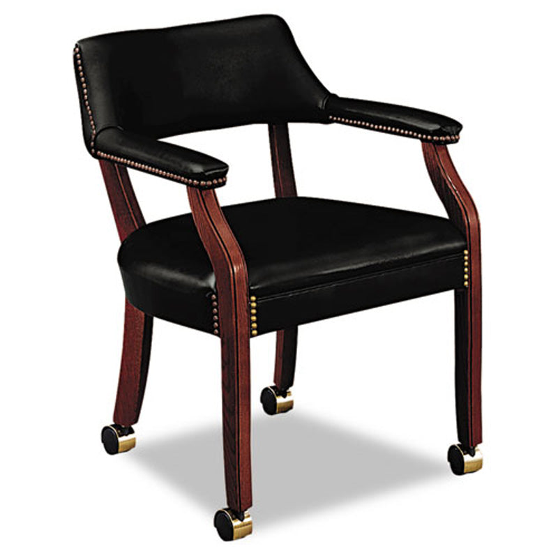 6550 Guest Arm Chair with Casters, Mahogany
