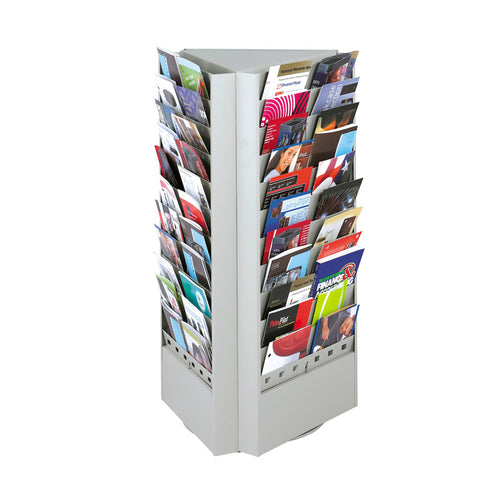 66 or 33-Pocket Steel Rotary Brochure Rack Gray