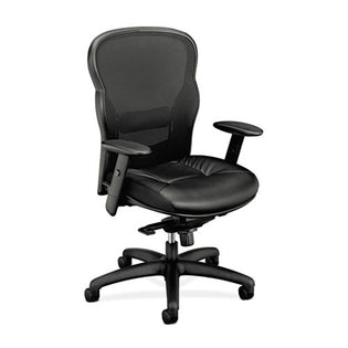 701 Mesh High-Back Work Chair, Black w/Black Leather