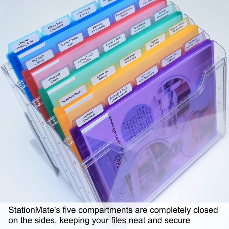 StationMate® 5-Compartment Inclined StepUp File Desktop Organizer Includes 25, 5th-Cut PocketFile™ Project Files