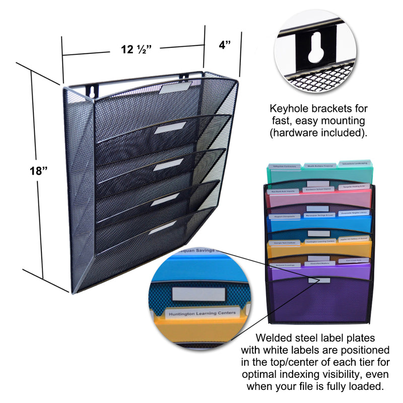 Ultimate Office Mesh Wall File Organizer, 5 Tier Vertical Mount Hanging File Sorter, Multipurpose Display Rack Includes Your Choice of 25, 5th-Cut or 18, 3rd-Cut PocketFiles, Black