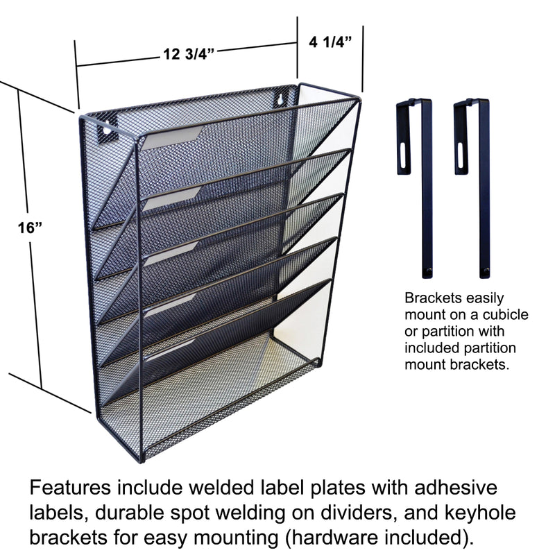 Ultimate Office Mesh Wall File Organizer, 5 Tier Cubicle File Folder Holder Over the Panel Partition Display Rack with Accessory Tray, Includes 18, 3rd-Cut PocketFiles, Black