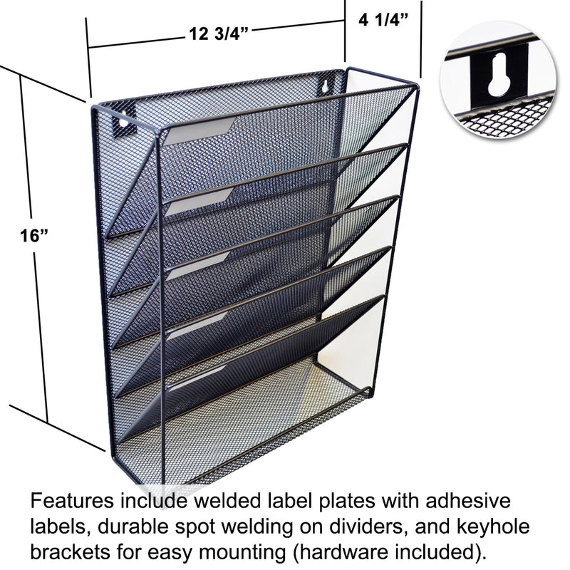 Ultimate Office Mesh Wall File Organizer, 5 Tier Vertical Mount Hanging File Sorter Rack with Accessory Tray, Includes Your Choice of 25, 5th-Cut or 18, 3rd-Cut PocketFiles, Black
