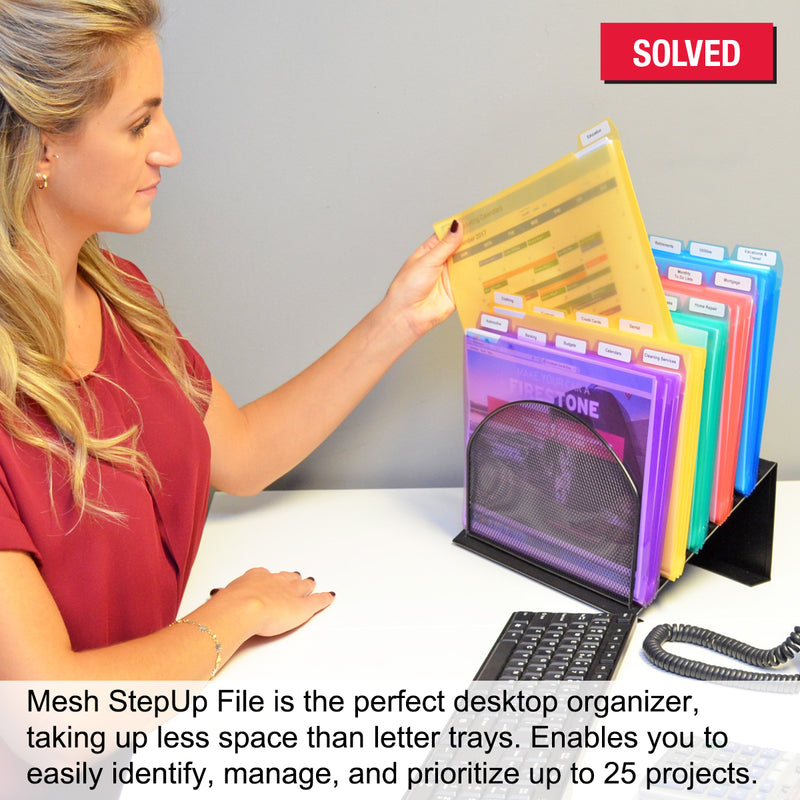 Ultimate Office 5-Compartment Mesh StepUp File Inclined Desktop Organizer Includes Your Choice of 5th or 3rd-Cut PocketFile™ Project Files