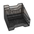 "Wire Mesh Tray Sorter Combo, 5 Sections, Letter Size Files, 12 1/2"" X 11 1/2"" X 9 1/2"", Black"