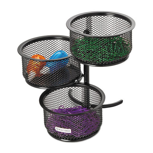 "Wire Mesh 3 Tier Swivel Tower Paper Clip Holder, 3 3/4"" X 6 1/2"" X 6"", Black"