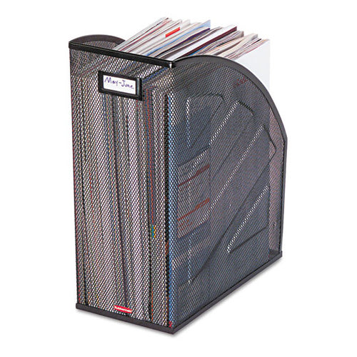"Wire Mesh Nestable Jumbo Magazine File, 6 1/2"" X 10"" X 12 1/2"", Black"