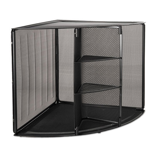 "Wire Mesh Corner Desktop Shelf, Five Sections, 20"" X 14"" X 13"", Black"