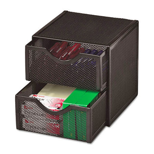 "Wire Mesh Two-Drawer Cube Storage Organizer, 6"" X 6"" X 6"", Black"