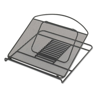"Wire Mesh Adjustable Steel Laptop Stand, 12 1/4"" X 12 1/4"" X 1"", Black"