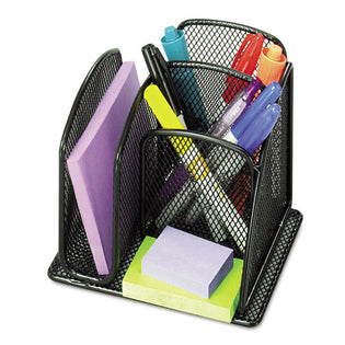 "Wire Mesh Mini Organizer With Three Compartments, 6"" X 5 1/4"" X 5 1/4"", Black"
