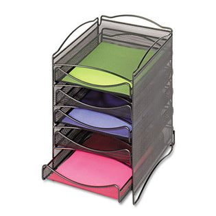 Wire Mesh Stackable Literature Organizer, Five-Drawer, Black