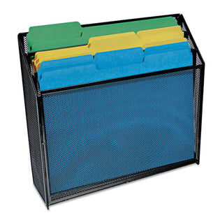 "Deluxe Wire Mesh Three-Tier Organizer, 3 Sections, Letter Size Files, 12 5/8"" X 3 5/8"" X 11 1/2"", Black"
