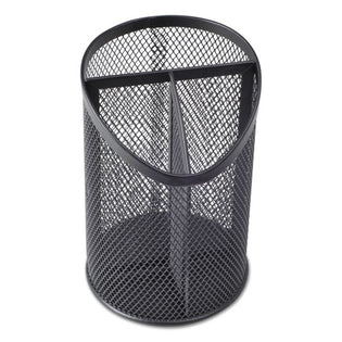 "Wire Mesh 3-Compartment Pencil Cup, 4 1/8"" Diameter, 6""H, Black"