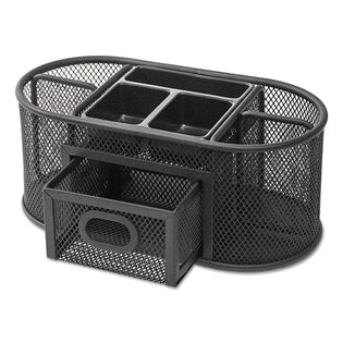 "Wire Mesh Oval Desktop Organizer, 9 3/8"" X 4"" X 4 7/8"", Black"