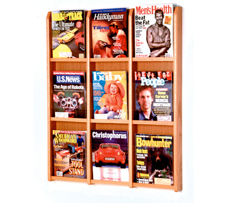 9 Pocket Acrylic & Oak Wall Display