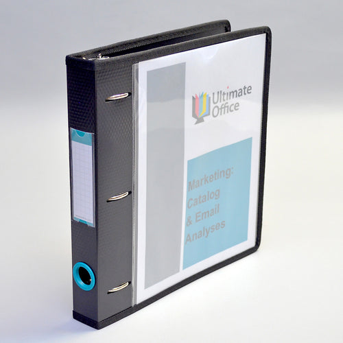 "Ultimate Office PortaFile™ View Binder 1"" Heavy-Duty D-Ring Binder Features Locking Cover, Sewn Nylon Edges, 6 Color Rings with Matching Labels, and 2 Large Interior Pockets for Loose Papers (1 each)"