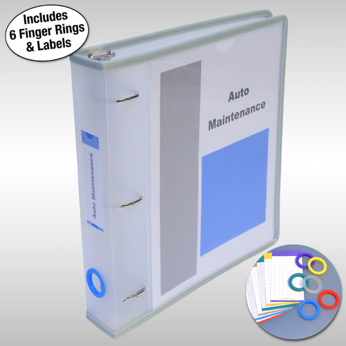 "Ultimate Office PortaFile™ View Binder 1 1/2"" Heavy-Duty D-Ring Binder Features Locking Cover, Sewn Nylon Edges, 6 Color Rings and Matching Labels and 2 Large Interior Pockets for Loose Papers (1 each), Frost"