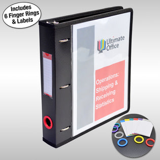 "Ultimate Office PortaFile™ View Binder 1 1/2"" Heavy-Duty D-Ring Binder Features Locking Cover, Sewn Nylon Edges, 6 Color Rings and Matching Labels and 2 Large Interior Pockets for Loose Papers (1 each), Black"
