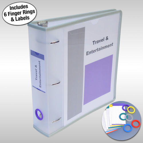 "Ultimate Office PortaFile™ View Binder 2"" Heavy-Duty D-Ring Binder Features Locking Cover, Sewn Nylon Edges, 6 Color Rings and Matching Labels and 2 Large Interior Pockets for Loose Papers (1 each), Frost"